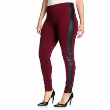 Kate & Mallory Stretch Knit Faux Leather Panel Elastic Waist Leggings