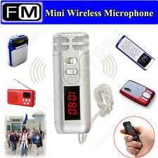 Mini Portable Wireless FM Condenser Microphone Mic with Neck Strap Fr Tour Guide