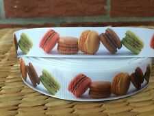 "1, 3, or  5 yards Colorful MACAROONS 1"" grosgrain ribbon- FLAT RATE SHIPPING"