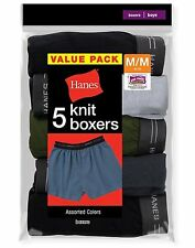 10 Hanes Boys' Exposed Elastic Knit Boxers B539P5