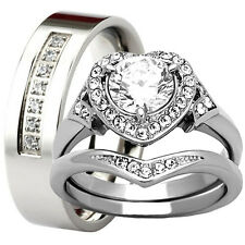 3 PC Engagement Wedding Match Ring Set CZ Women's Men's 6mm Band Stainless Steel