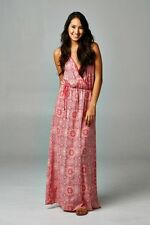 BOHO Chic Bohemian Gypsy Festival Red White Floral Strappy Sexy Maxi Dress NWT