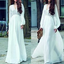 Fashion Women Chiffon Plunging V Neck Long Sleeve Long Maxi Swing Dress US EA77