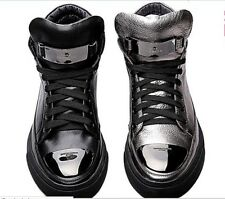 Men's Fashion Genuine Leather Lace Up High Top Metal Decor Casual Sneakers Shoes