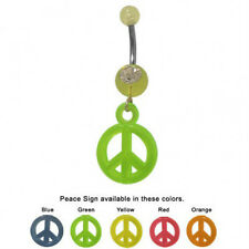Peace Sign Belly Ring with Dangling UV Acrylic Charm