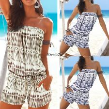 Sexy Women Summer Slash Neck Off Shoulder Print Short Jumpsuit Playsuit EA77