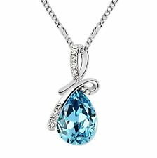 18K WHITE GP SWAROVSKI SEA BLUE CRYSTAL ETERNAL LOVE TEARDROP PENDANT NECKLACE