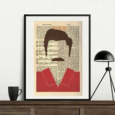 Ron Swanson Parks And Recreation Leslie Knope Book Dictionary Art Poster Print