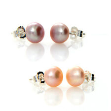 Hallmarked 925 Silver 7-8mm Round Freshwater Pearl Stud Earrings- 2 Colors