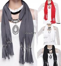 Soft Long Oval Wrap Neck Shawl Scarf Necklace Beaded Crystal Tassel Drop Pendant
