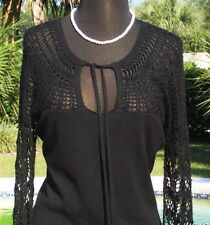 Cache $98 PEEK-A-BOO CROCHET NECK SLEEVES KNIT Top NWT KEY-HOLE STRETCH S/M/L