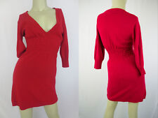 Wetseal Sweat Dress Knit Long Sleeves V neck Red size M