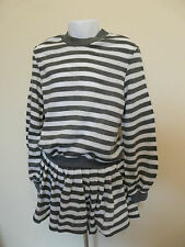 MOTHERCARE GIRLS GREY WHITE STRIPED TOP JUMPER AND SKIRT SET SIZE 6-7 YEARS