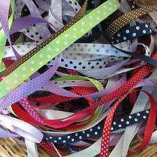 10 Mtr Bundle Mixed Satin Spot Ribbon Trimmings Assorted Colours/6-10mm Offcuts