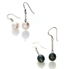 925 Sterling Silver 9-10mm Freshwater Black Pearl & White Pearl Drop Earrings