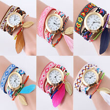 Fashion Women Lady Retro Leather Bracelet leaf Bangle Analog Quartz Wrist Watch