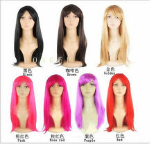 WOMENS LADIES LONG STRAIGHT WIG FANCY DRESS COSPLAY WIGS POP PARTY COSTUME HOT