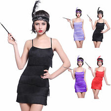 Ladies 20s Charleston Gatsby Flapper Fancy Dress Fringed Tassel Outfit Headband