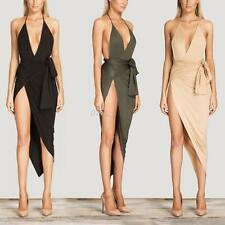 New Women's Sexy Deep V Neck Backless Dress Evening Cocktail Party Maxi Dress
