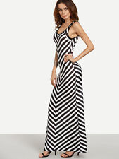 Black White Chevron Print Striped Tank Stretch Maxi Long Dress Sz S M L XL