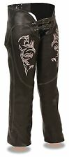 Ladies Naked Leather Low Rise Biker Chaps w/ Pink Reflective Tribal Embroidery