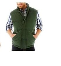 St Johns Bay Mens Puffer Vest Jacket solid polyester winter green size S NEW