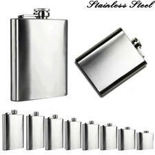 New 2-18 Oz Stainless Steel Pocket Hip Flask Alcohol Whiskey Liquor Screw Cap