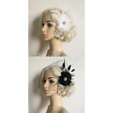Headwear Fascinator Feather Veil Net Mesh Hair Pieces Bridal Hair Clip