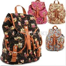 Women's Vintage Canvas Owls Cute School Satchel Rucksack Backpack Campus Bag #YL