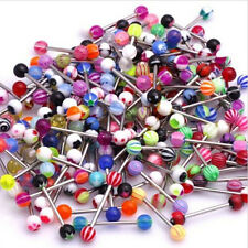 10/30/100 pcs  Tongue Piercing Surgical Steel UV Tongue Bar Nipple Bars Barbell