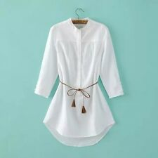 New Womens Ladies Fashion 3/4 Sleeve White Long Shirt Blouse Tops with Belt SML