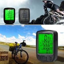 NEW Bicycle Wired LCD PC Odometer Speedometer Waterproof + Green Backlight IG