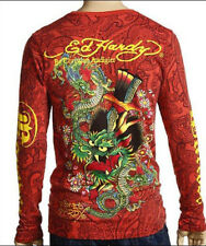 ED Hardy Mens Dagger Head Dragon Allover Print Red Long Sleeve T-shirt