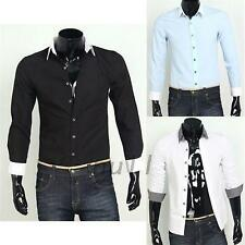 Fashion Mens Button Front Solid Long Sleeve Business Casual Shirts Dress Shirt
