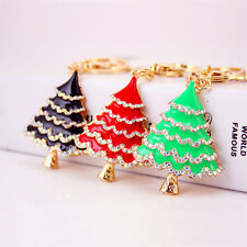 Cute Creative Fashion Crystal Christmas Tree Keyring Charm Pendant Key Bag Chain