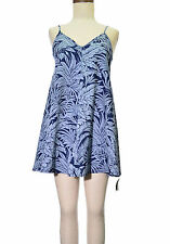 Sun dress babydoll strappy tropical palm print 100% Cotton UK Size 4 8 16