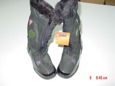 NWT Young Girls Fashion Winter Boots Ozark Trail Black Lined Hearts Glitter