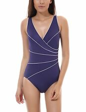 Women's Slimming One Piece Piped Plus Size Swimsuit Bathing Suit