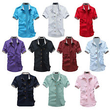 Charm mens summer short-sleeve slim shirt casual Small Mushroom Embroidery SYH