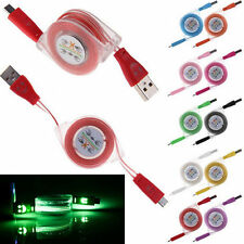 Retractable LED Lights USB Micro Charger Changing Data Sync Cable For Android