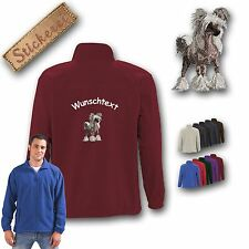 Cuddly Fleece Jacket Back Embroidery Chinese Crested Dog+Desired text