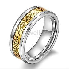 Vintage Gold Dragonic Ring Stainless Steel Rings Unisex Fashion Jewelry US# 6-13