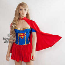 Sexy Super Woman Supergirl Superwoman Dress w/Cape Costume 4 Cosplay Party S/M/L