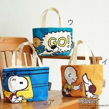 PEANUTS SNOOPY Cotton Tote Bag Handbag Shoulder Shopping Purse from Japan T4560