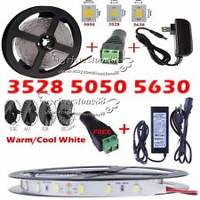 5M 300Led 3528/5050/5630 SMD Cool /Warm White LED Flexible Strip Light / Adapter