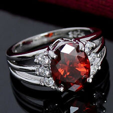 Women's Silver Plated Jewelry Red Cubic Zirconia Exquisite Finger Ring Natural