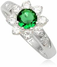 Simulated Emerald Ring Green Flower 925 Sterling Silver