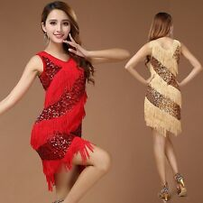 Women Latin Dance Costume Samba Tango Cha Cha Tassel Sequins Carnival Dress Up
