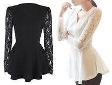 Lace Crochet Dress Patchwork Long Sleeves Chiffon Shirt- AS