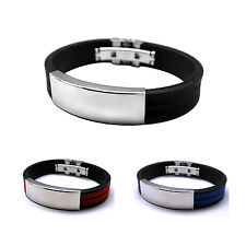 Mens Black Rubber Stainless Steel Wristband Cuff Bangle Buckle Bracelet Punk AS